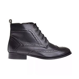 Wanted Shoes Nonna Black Vegan Leather Wingtip